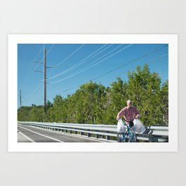 Bloke with Bicycle Carrying Shopping in Key West Art Print