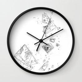 Mountain Vertices, Mt. Shasta, Black Geometric Wall Clock