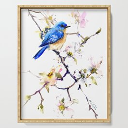 Bluebird and Dogwood, bird and flowers spring colors spring bird songbird design Serving Tray