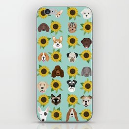 Dogs and cats pet friendly sunflowers animal lover gifts dog breeds cat person iPhone Skin