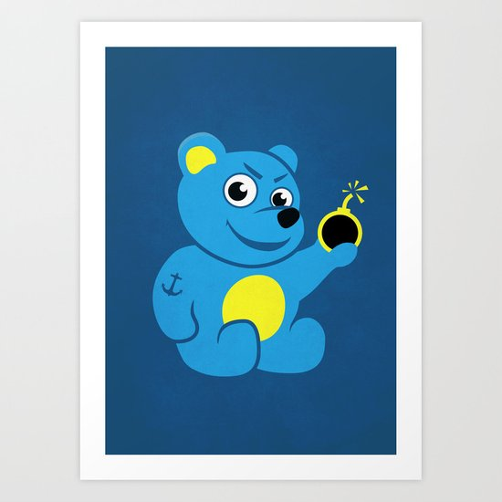 Evil Tattooed Teddy Bear Art Print