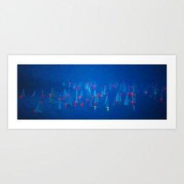 SAILBOAT BAY-Blue Night on the Water Art Print