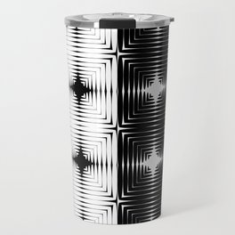 Abstract tile made of white and black stretches of kradratov, rhombuses and stars. Travel Mug