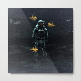 Space goldfish Metal Print