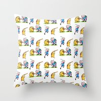 finn and jake Throw Pillows featuring  Finn&Jake  by memo_alatouly