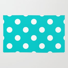 Polka Dots - White on Cyan Rug