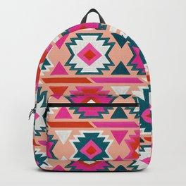 Kilim Abundance Pattern  - Blush & Teal Palette Backpack