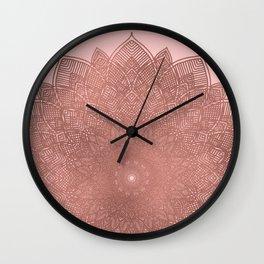 Dreamcatcher Sunset - abstract bronze rose gold mandala, blush pink Wall Clock