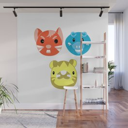 Neon Pop Animal Trio Wall Mural