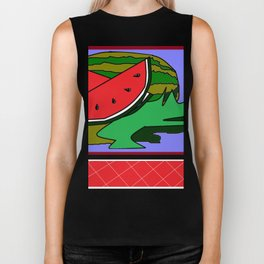 Watermelon with flower and red tile Biker Tank