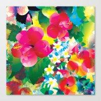 hawaiian Canvas Prints featuring Hawaiian jungle by Akwaflorell