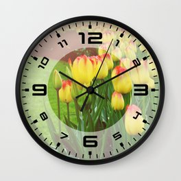 Yellow Red Tulips Wall Clock