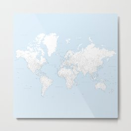 World map, highly detailed in light blue and white, square Metal Print