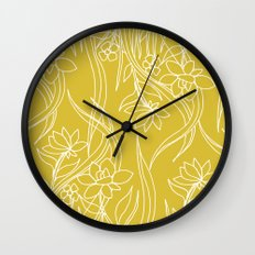 Floral Drawing in Yellow Wall Clock