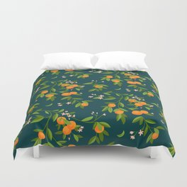 Citrus Tree - Navy Duvet Cover