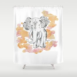 Elephant Travels- Frolics to family Shower Curtain