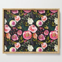 black and pink floral Serving Tray