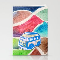 vw bus Stationery Cards featuring VW Bus Campervan by Carrie at Dendryad Art