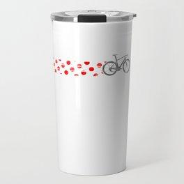 Polkadot Jersey Climbing Champ Bike Race Cycling Silver Travel Mug