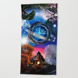 X . The Wheel Tarot Card Illustration Beach Towel