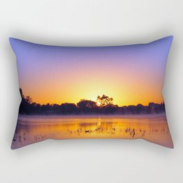 Bright sunrise on the water Rectangular Pillow