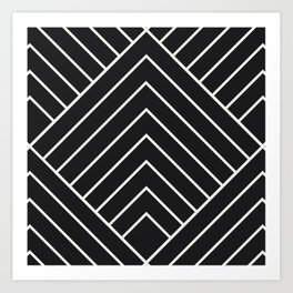 Diamond Series Pyramid White on Charcoal Art Print