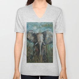 The Elephant | Oil Painting Unisex V-Neck