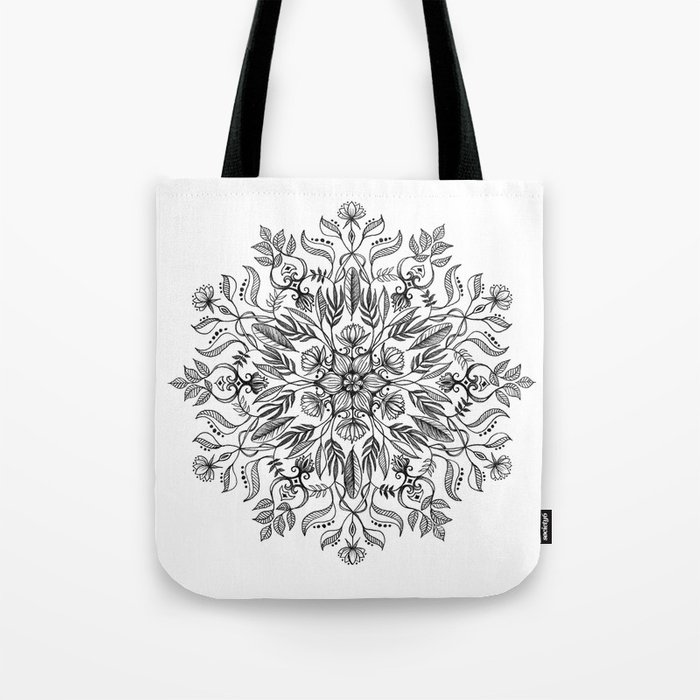 Thrive - Monochrome Mandala Tote Bag