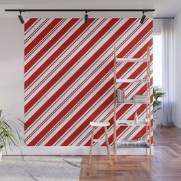 winter holiday xmas red white striped peppermint candy cane Wall Mural