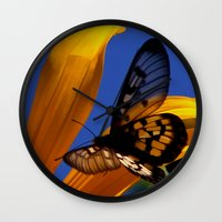 transparent Wall Clocks featuring Transparent Butterfly by Donuts