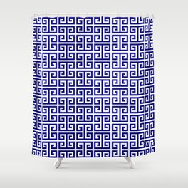 Navy and White Greek Key Pattern Shower Curtain