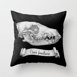 Dog Skull in Ink Throw Pillow