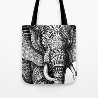 bioworkz Tote Bags featuring Ornate Elephant v.2 by BIOWORKZ