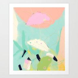 minimal floral abstract art Art Print