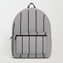 Dark Grey Pinstripes on Silver | Wide Vertical Pinstripes | Backpack