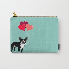 Boston Terrier Valentine heart balloons for pet owners and dog lovers gift for someone they love Carry-All Pouch