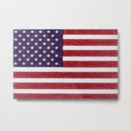 Crayon version of the America national flag Metal Print