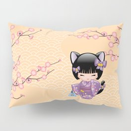 Japanese Neko Kokeshi Doll V2 Pillow Sham
