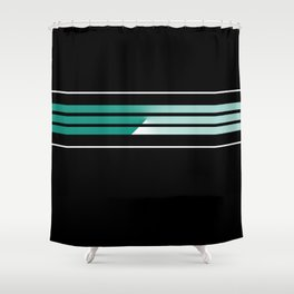Team Colors 5....teal, black and white Shower Curtain