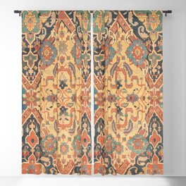 Geometric Leaves IX // 18th Century Distressed Red Blue Green Colorful Ornate Accent Rug Pattern Blackout Curtain