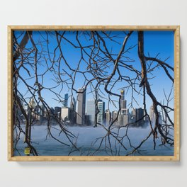 Chicago Skyline Through Nature's Hands Serving Tray