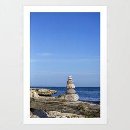 Rock Balancing Stone Cairn Zen Still Life On Swedish Beach Art Print