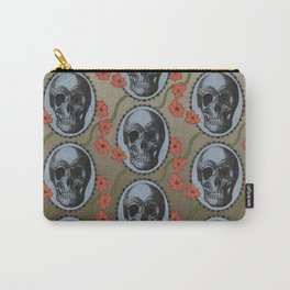 Skulls and Poppies - Red, Blue, Green - Halloween Vintage Theme Carry-All Pouch