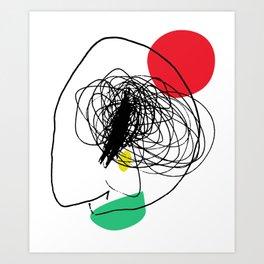 Sad clown abstract minimalist design print Art Print