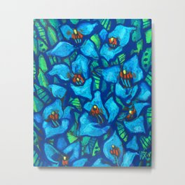 Blue Puya, Abstract Floral, Tropic Fowers Metal Print