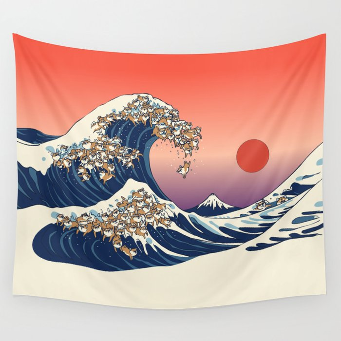 The Great Wave of Shiba Inu Wall Tapestry