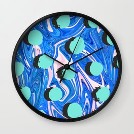 Abstract Texture Pattern 02 – Marbling and Shadow Polka Spots Wall Clock