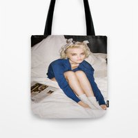 sky ferreira Tote Bags featuring Love In Stereo ~ Sky Ferreira by Michelle Rosario