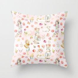 Little girls on the farm Throw Pillow