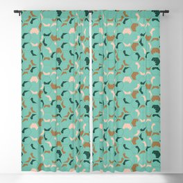 Geometrical design of cubes in green, pink and brown Blackout Curtain